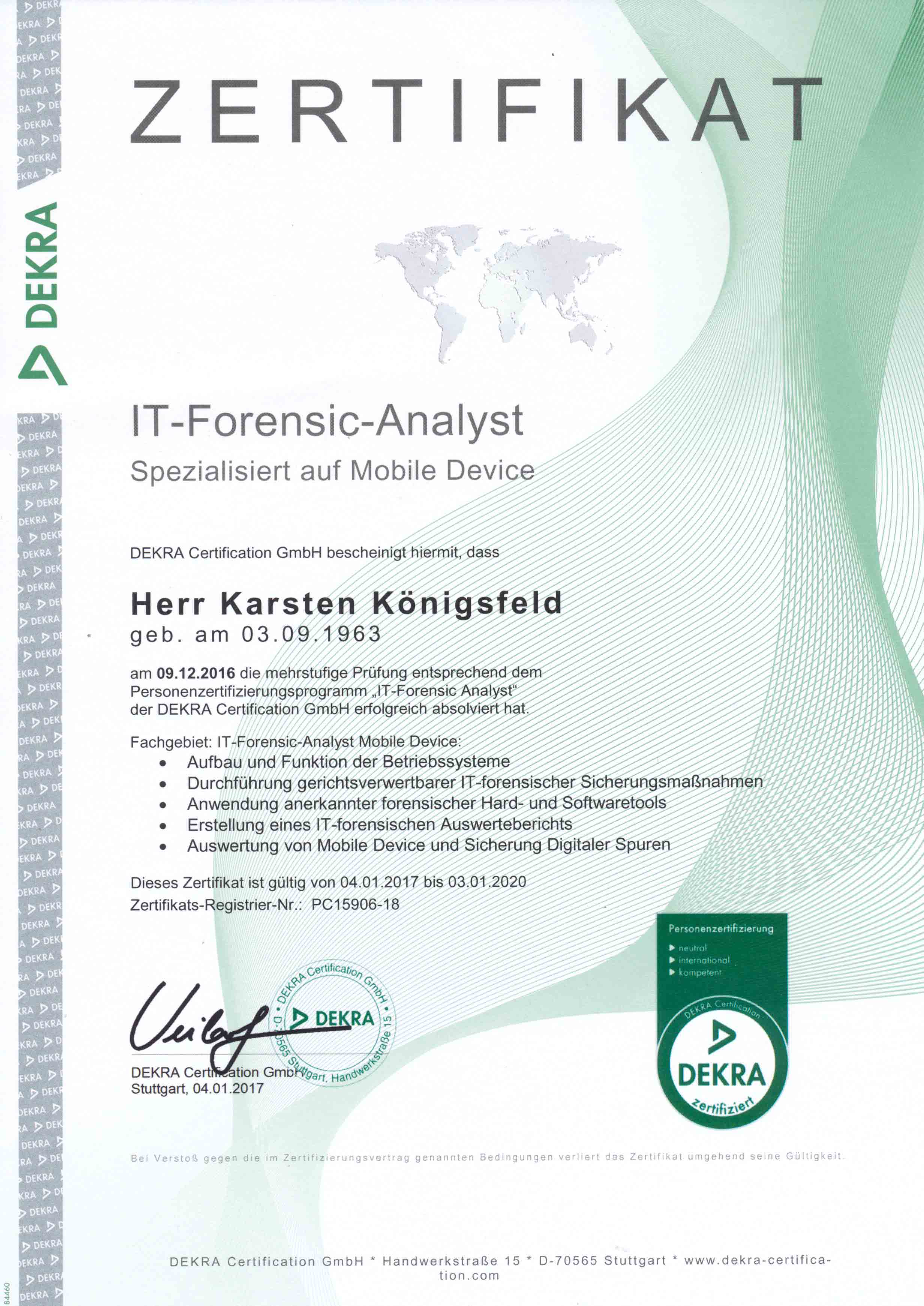IT Forensic Analyst Karsten Koenigsfeld Zertifikat Mobil Devices